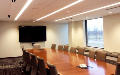 conference room with large screen television